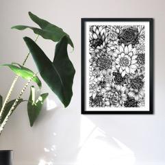 Illustration, White thistle design art