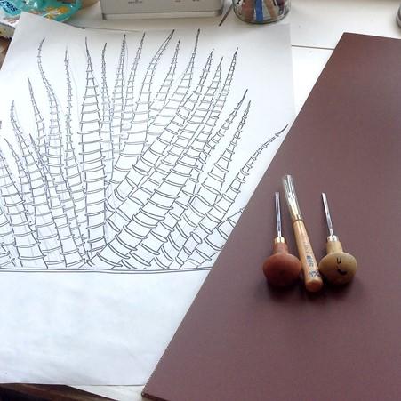 Kerry Day - linoprint tools and drawing