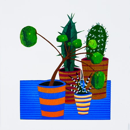 Kerry Day - colourful print of group of succulents