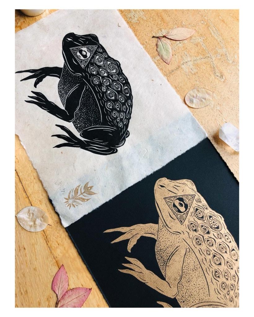 Skyfyre Studio linoprint - All Seeing Frog