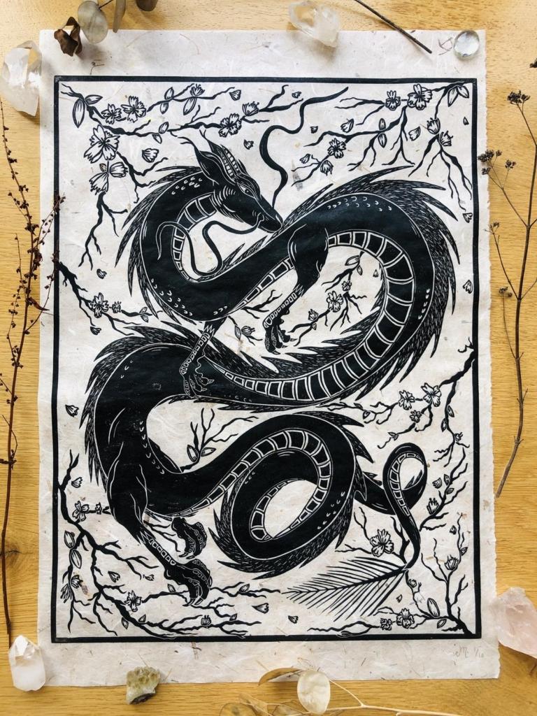 Skyfyre Studio linoprint - Haku Dragon and Cherry Blossom
