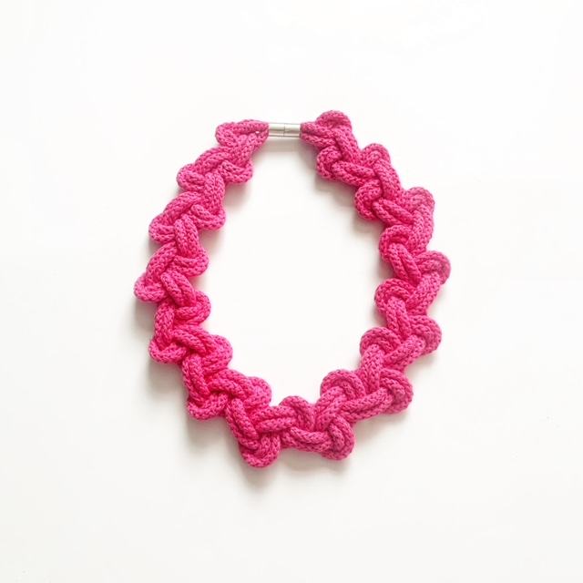 Fuchsia Lily necklace in pink by Handmade by Tinni