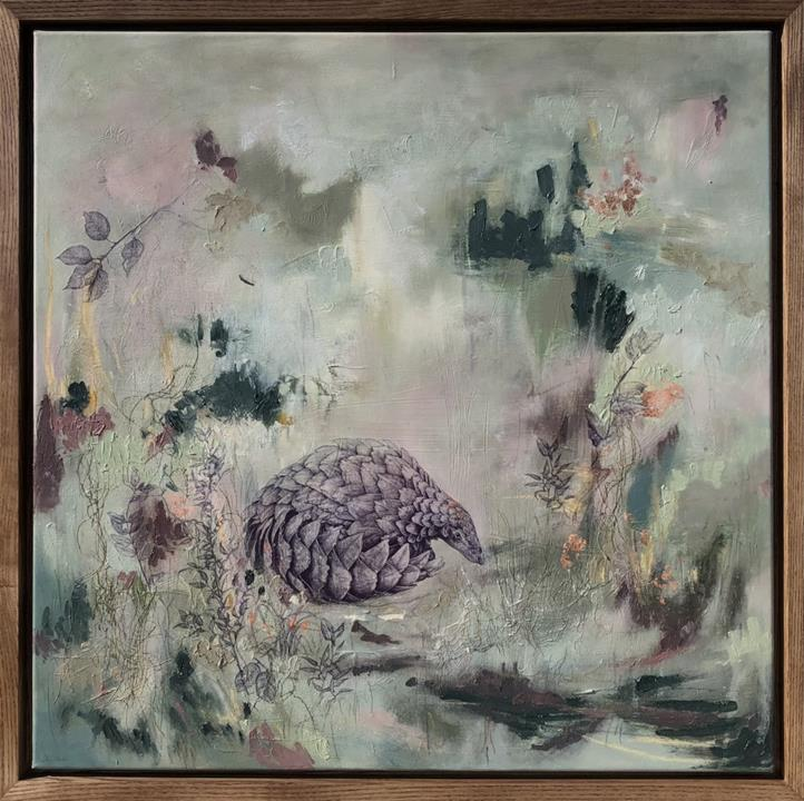 Sky Siouki painting 'Grounded' - Endangered exhibition