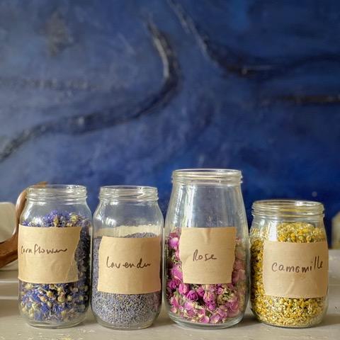 Bohobo Aromatherapies - dried flower petals in jars