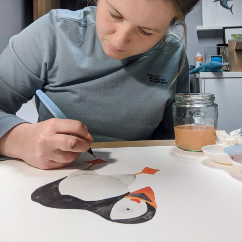 Jem Loves To Draw - Jem painting a puffin