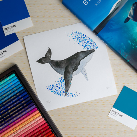 Jem Loves To Draw - painting of humpback whale