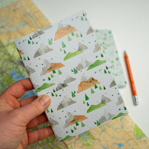 Jem Loves To Draw - notebook with mountain adventure cover