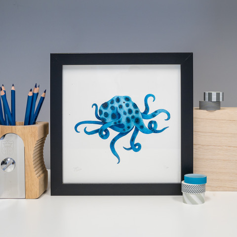 Jem Loves To Draw - print of little blue octopus