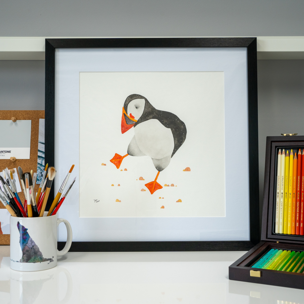 Jem Loves To Draw - framed puffin print